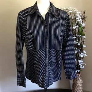 Apt. 9 Women's Striped Black/Purple Buttons Blouse